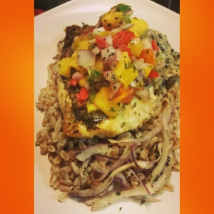 Snapper Filet over thyme infused Farro with fresh mango salsa